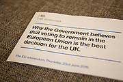 The British Conservative Government leaflet supporting the pro side of the European Referendum debate arrives at homes across the country on 13 April 2016 in London, England, United Kingdom. The pamphlet entitled Why the Government believes in voting to remain in the European Union is the best decision for the UK. sets out the Conservative Party position on Europe and was recently deemed controversial by the opposition due to the £9M price for its printing and distribution, paid for by the UK tax payer.