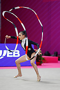Aghamirova Zohra from Azerbaijan competes during the Rhythmic Gymnastics Individual World Cup qualification at Vitrifrigo Arena on May 28-29, 2021, in Pesaro, Italy. She's born in Baku in 2001.