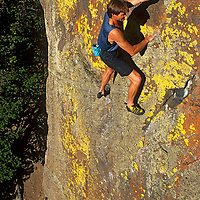 Alex Lowe solo climbs difficult Practice Wall (5.11), a rock climb in Hyalite Canyon, near Bozeman, Montana.