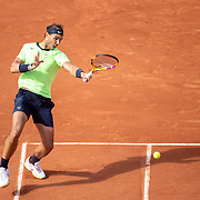 PARIS, FRANCE June 5.  Rafael Nadal of Spain in action against Cameron Norrie of Great Britain on Court Suzanne Lenglen during the third round of the singles competition at the 2021 French Open Tennis Tournament at Roland Garros on June 5th 2021 in Paris, France. (Photo by Tim Clayton/Corbis via Getty Images)