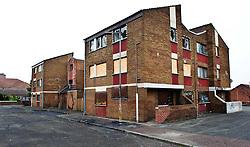 Derelect housing in the Falls Road, Belfast, Northern Ireland<br /> <br /> (c) Andrew Wilson | Edinburgh Elite media