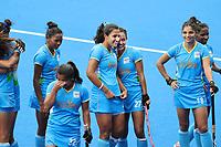 TOKIO - Vreugde bij speelsters van India  na de hockeywedstrijd in de kwartfinale wedstrijd dames , Australie-India (0-1),   tijdens de Olympische Spelen van Tokio 2020. India plaats zich voor de halve finale.  midden Rani (C) (IND) met Sushila Chanu Pukhrambam (IND)  COPYRIGHT KOEN SUYK