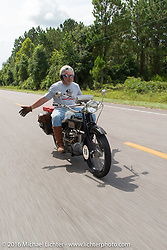 Frank Westfall riding his 1928 Henderson Deluxe during Stage 1 of the Motorcycle Cannonball Cross-Country Endurance Run, which on this day ran from Daytona Beach to Lake City, FL., USA. Friday, September 5, 2014.  Photography ©2014 Michael Lichter.