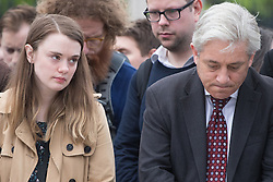 Parliament Square, Westminster, London, June 17th 2016. Following the murder of Jo Cox MP a vigil is held as friends and members of the public lay flowers, light candles and leave notes of condolence and love in Parliament Square, opposite the House of Commons. PICTURED: A tearful friend of Jo Cox and Commons Speaker John Bercow.