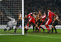 Photo: Andrew Unwin.<br />Hull City v Middlesbrough. The FA Cup. 06/01/2007.<br />Hull's goalkeeper, Bo Myhill (L), denies Middlesbrough's Mark Viduka (R of C) from close range.