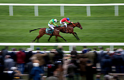 Envoi Allen ridden by JJ Cod (right) on their way to victory in the Weatherbys Champion Bumper during Ladies Day of the 2019 Cheltenham Festival at Cheltenham Racecourse.