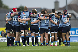 September 23, 2017 - Galway, Ireland - Cardiff Blues players huddle during the Guinness PRO14 Conference A match between Connacht Rugby and Cardiff Blues at the Sportsground in Galway, Ireland on September 23, 2017  (Credit Image: © Andrew Surma/NurPhoto via ZUMA Press)