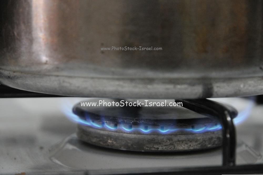 Pot on a gas cooker