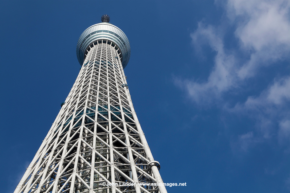 Tokyo Skytree is a broadcasting and observation tower.  It became the  tallest tower in the world.  Tobu Railway and TV and radio broadcasters including NHK set up the tower and made its main purposes to relay television and radio broadcast signals.  The Sky Tree has also become a major attraction to the Tokyo skyline in recent years.  Visible from the Sumida River, on which it reflects, it is actually best seen from Asakusa rather than at its base.