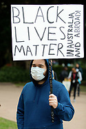 Protester wearing protective face mask prepare to march on Parliament House at the Archibald Fountain in Hyde Park on 02 June, 2020 in Sydney, Australia. Black Lives Matter protest was arranged by Australian Communist Party with Australia's First Nations People following the killing of an unarmed black man George Floyd at the hands of a police officer in Minneapolis, Minnesota. (Photo by Pete Dovgan/ Speed Media)
