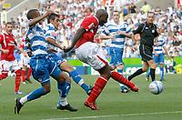 Photo: Steve Bond/Richard Lane Photography. Reading v Nottingham Forest. Coca Cola Championship. 08/08/2009. Dele Adebola (R) sidefoots goalwards