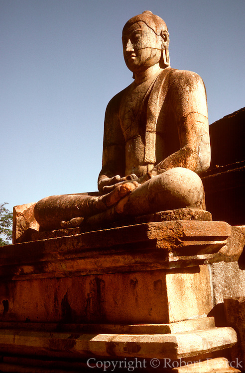 SRI LANKA, ANCIENT CULTURE Polonnaruwa; a sculpture of a seated Buddha in the Vatadage, or Buddhist relic house, 12th century
