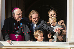 Pierre Casigraghi's wife Beatrice Borromeo, Stefano Ercole Casiraghi, Andrea Casiraghi, Alexandre Casiraghi are attending from the balcony the parade at the Palace Square during the National Day ceremonies in Monaco on November 19, 2018. Photo by ABACAPRESS.COM