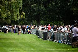 © Licensed to London News Pictures. 21/08/2019. Reading, UK. Large queues as revelers make their to Reading Festival on a sunny summers day. Warm weather is expected to greet the start of the three day music festival, twinned with Leeds Festival, which attract over 90,000 people over the bank holiday weekend. Photo credit: Ben Cawthra/LNP