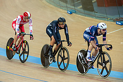January 26, 2019 - Hong Kong, Hong Kong SAR, China - Mens Omnium IV. Australias Cameron Meyers takes gold with New Zealands Campbell Stewart (M) taking Silver and France's Benjamin Thomas (pictured R))  takes silver.UCI Track Cycling World Cup Hong Kong 2019, Qualifiers Leg VI at the Hong Kong Velodrome in Tseung Kwan O ,Kowloon (Credit Image: © Jayne Russell/ZUMA Wire)