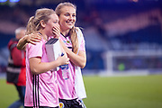 Scotlands Erin CUTHBERT (Chelsea FCW (ENG)) emotional as they say thanks to the the fans following their win over Jamaica during the International Friendly match between Scotland Women and Jamaica Women at Hampden Park, Glasgow, United Kingdom on 28 May 2019.