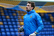 AFC Wimbledon goalkeeper Sam Walker (1) warming up prior to kick off during the EFL Sky Bet League 1 match between AFC Wimbledon and Milton Keynes Dons at Plough Lane, London, United Kingdom on 30 January 2021.