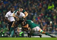 Rugby Union - 2017 Guinness Series (Autumn Internationals) - Ireland vs. Fiji<br /> <br /> Kalivati Tawake (Fiji) is tackled by Jack Conan and Ultan Dillane (Ireland), at the Aviva Stadium.<br /> <br /> COLORSPORT/KEN SUTTON