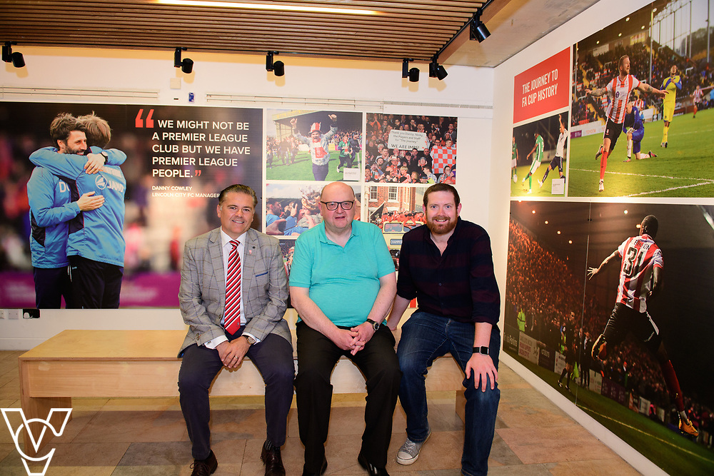 A special exhibition has launched at The Collection museum, in Lincoln. 'The Journey - a Celebration of Lincoln City FC 2016-18' celebrates two historic seasons for the Imps.  Pictured, from left, Lincoln City director Kevin Cook, Chris Ashton (who helped create the exhibition by creating the story of the seasons) and Chris Vaughan (who researched pictures for the exhibition)<br /> <br /> Picture: Chris Vaughan Photography<br /> Date: June 22, 2108