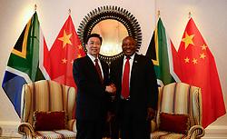 (161123) -- CAPE TOWN, Nov. 23, 2016 (Xinhua) -- South African Deputy President Cyril Ramaphosa (R) shakes hands with visiting Chinese Vice President Li Yuanchao during their meeting in Cape Town, South Africa, on Nov. 22, 2016.  (Xinhua/Zhai Jianlan) (dtf) (Photo by Xinhua/Sipa USA)
