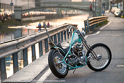 Andrea Radaelli's Radikal Chopper Milano's custom Shovelhead that won LowRide Magazine's Best of Show award at Motor Bike Expo Verona. Photographed in Milan, Italy. Monday January 22, 2018. Photography ©2018 Michael Lichter.