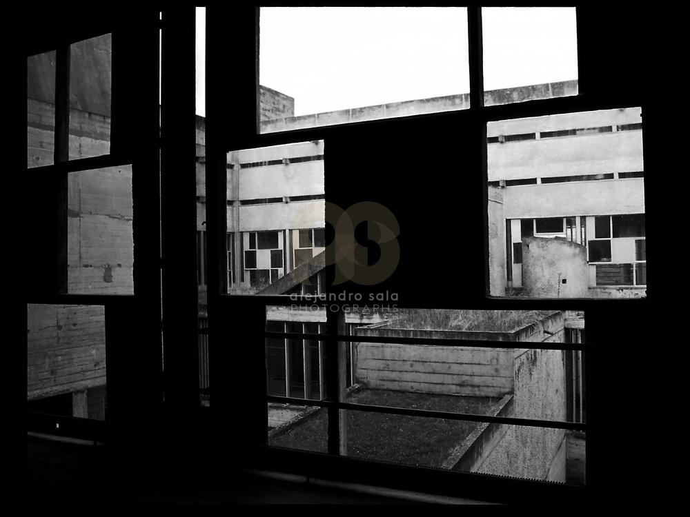 Éveux, France, Alvernia-Rodano-Alpi, 2002: Interior view of the Sainte Marie de La Tourette Convent (1946) - Le Corbusier arch - Visit Shop Images to purchase and download a digital file and explore other AS images archive. Photographs by Alejandro Sala