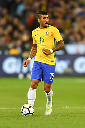 June 9, 2017 - Melbourne, Victoria, Australia - PAULINHO (15) of Brazil runs with the ball in an international friendly match between Brazil and Argentina at the Melbourne Cricket Ground on June 10, 2017 in Melbourne, Australia. Argentina won 1-0 (Credit Image: © Sydney Low via ZUMA Wire)