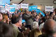 Saturday 29th April 2017, Banchory, Aberdeenshire, Scotland. Prime Minister Theresa May makes her first campaign visit to Scotland ahead of June's snap general election.<br /> <br /> Pictured: Prime Minister Theresa May at a Conservative Rally in Aberdeenshire<br /> <br /> (Photo: Ross Johnston/Newsline Media)