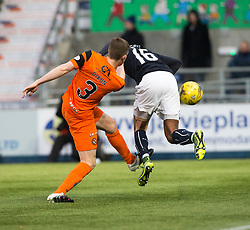 Dundee United's Paul Dixon kicks out Falkirk's Nathan Austin. Falkirk 3 v 0 Dundee United, Scottish Championship game played 11/2/2017 at The Falkirk Stadium.