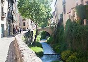 Historic buildings on Carrera del Darro and old bridge over the Rio Darro river, Granada, Spain