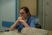 L´HOSPITALET DEL LLOBREGAT, SPAIN - APRIL 09: Intensive Care Dr. Anna Farré takes a break during her shift at the ICU of the Hospital Universitari de Bellvitge on April 09, 2020 in Barcelona, Spain. More than 7,000 people are being treated in Intensive Care Units (ICU) across Spain, the Autonomous region of Catalonia is the worst affected with more than 2,500 patients. The national death toll has passed 15,000 due to the COVID-19 outbreak, although the country has reported a decline in the daily number of deaths.