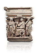 """End panel of a Roman relief sculpted Hercules sarcophagus with kline couch lid, """"Columned Sarcophagi of Asia Minor"""" style typical of Sidamara, 250-260 AD, Konya Archaeological Museum, Turkey. Against a white background. .<br /> <br /> If you prefer to buy from our ALAMY STOCK LIBRARY page at https://www.alamy.com/portfolio/paul-williams-funkystock/greco-roman-sculptures.html . Type -    Konya     - into LOWER SEARCH WITHIN GALLERY box - Refine search by adding a subject, place, background colour, museum etc.<br /> <br /> Visit our ROMAN WORLD PHOTO COLLECTIONS for more photos to download or buy as wall art prints https://funkystock.photoshelter.com/gallery-collection/The-Romans-Art-Artefacts-Antiquities-Historic-Sites-Pictures-Images/C0000r2uLJJo9_s0"""