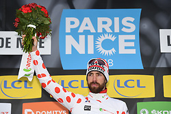 March 10, 2018 - Valdeblore La Colmiane, FRANCE - Belgian Thomas De Gendt of Lotto Soudal celebrates in the red polka-dot jersey for best climber after the sevent stage of the 76th edition of Paris-Nice cycling race, 175km from Nice to Valdeblore La Colmiane, France, Saturday 10 March 2018. The race starts on the 4th and ends on the 11th of March...BELGA PHOTO DAVID STOCKMAN (Credit Image: © David Stockman/Belga via ZUMA Press)