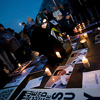 The wife of the Lockerbie bomberAisha Al Megrahi marches with her family down Edinburgh's Royal Mile in a  candle-lit vigil to highlight alleged miscarriages of justice - Edinburgh, Scotland, UK.  Her husband Abdelbaset ali Mohmed al-Megrahi is currently dying of prostate cancer in prison.  ..04/12/2008.Picture Callum Bennetts/Maverick