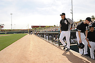 GLENDALE, AZ - MARCH 05:  Manager Robin Ventura #23 of the Chicago White Sox walks out of the dugout prior to the game against the Los Angeles Dodgers on March 5, 2012 at The Ballpark at Camelback Ranch in Glendale, Arizona. The Dodgers defeated the White Sox 6-4.  (Photo by Ron Vesely)  Subject:  Robin Ventura