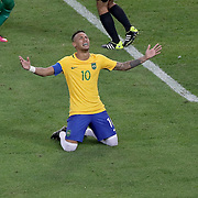 Football - Olympics: Day 15  Neymar #10 of Brazil in tears after scoring the winning penalty kick during the Brazil Vs Germany Men's Football Gold Medal Match at Maracana on August 20, 2016 in Rio de Janeiro, Brazil. (Photo by Tim Clayton/Corbis via Getty Images)