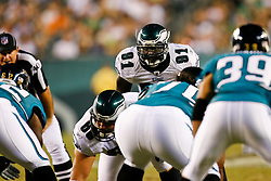 Philadelphia Eagles defensive end Chris Clemons #91 during the NFL game between the Jacksonville Jaguars and the Philadelphia Eagles on August 27th 2009. The Eagles won 33-32 at Lincoln Financial Field in Philadelphia, Pennsylvania.  (Photo By Brian Garfinkel)