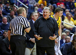Feb 18, 2019; Morgantown, WV, USA; West Virginia Mountaineers head coach Bob Huggins argues a call during the first half against the Kansas State Wildcats at WVU Coliseum. Mandatory Credit: Ben Queen-USA TODAY Sports