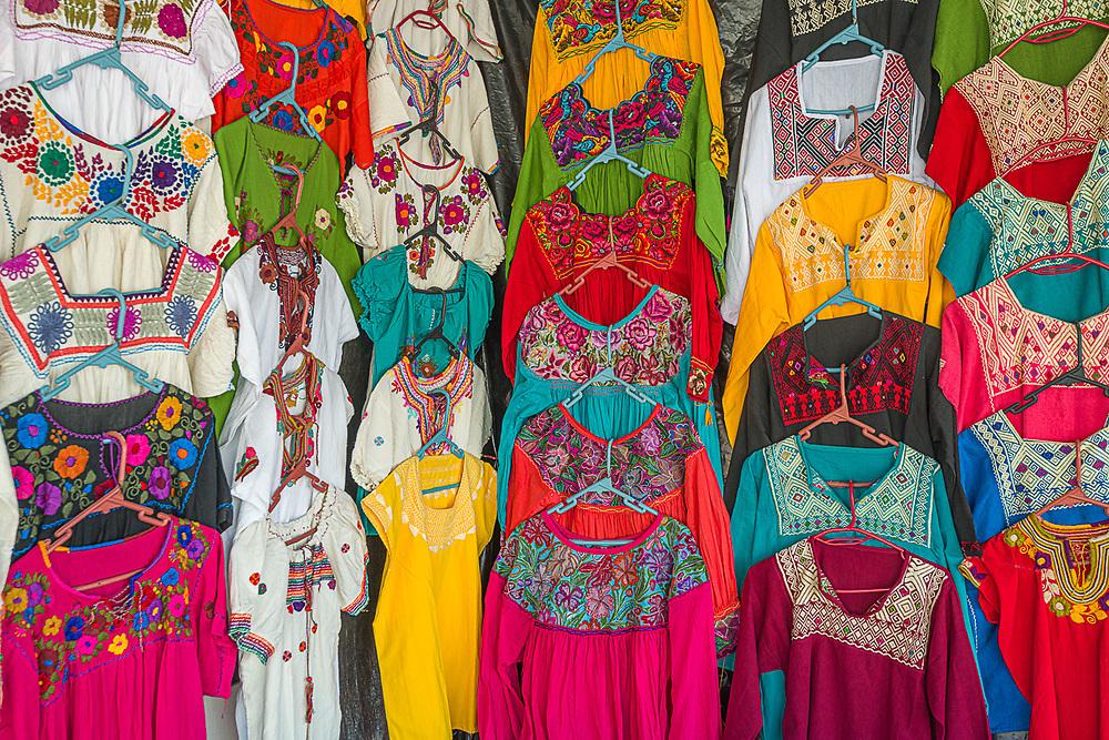 Street vendor clothing display, February, La Paz, Baja, Mexico