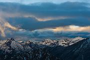 Dramatic sunset from Asgard Pass, Alpine Lakes Wilderness, Washington.
