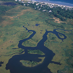 Wells, ME. Near Rachel Carson N.W.R. Webhannet River.  Drakes Island Beach.  Beachfront development.