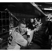 Slade Heathcott, New York Yankees, preparing to bat in the dugout during the New York Mets Vs New York Yankees MLB regular season baseball game at Citi Field, Queens, New York. USA. 18th September 2015. Photo Tim Clayton