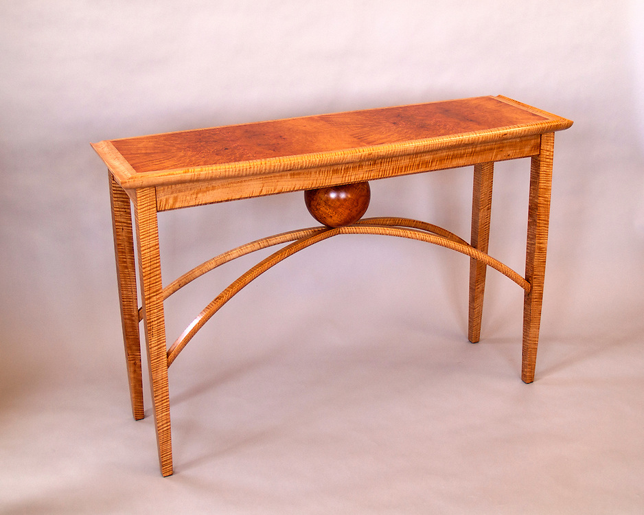 Anigre Entry table<br /> Anigre and Madrone burl shop-cut veneers. Madrone burl sphere turned by Keith Gotschall of Salida, Co.
