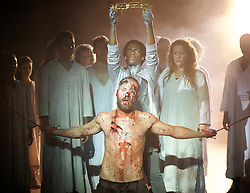 Jesus Christ Superstar <br /> by Tim Rice & Andrew Lloyd Webber <br /> at The Regent's Park Open Air Theatre, London, Great Britain <br /> press photocall<br /> 19th July 2016 <br /> <br /> Declan Bennett as Jesus <br /> <br /> Tyrone Huntley as Judas <br /> <br /> Anoushka Lucas Mary <br /> <br /> Peter Caulfield as Herod <br /> <br /> <br /> <br /> Photograph by Elliott Franks <br /> Image licensed to Elliott Franks Photography Services