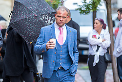 © Licensed to London News Pictures. 21/10/2019. Leeds UK. Phillip Hoban arrives at Leeds Crown Court this morning. 5 members of Leeds based paedophile hunting group Predator Exposure are appearing at Leeds Crown Court today. Phillip Hoban, Jordan McDonald, Jordan Plain, Dean Walls and Kelly Meadows are all accused of false imprisonment of a man in Chapel Allerton, Leeds. Hoban, 44, McDonald, 18, Plain, 25, and Walls, 51, also denied assaulting same man on same date, Hoban, Meadows,39, and McDonald denied further charge of false imprisonment of another man in Ackton, near Pontefract.Photo credit: Andrew McCaren/LNP