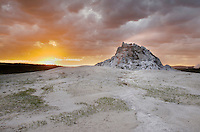 Clearing storm at sunset by White Dome Geyser, Yellowstone National Park