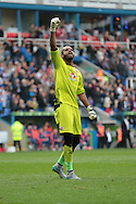 Reading goalkeeper Ali Al-Habsi celebrates Reading's second goal during the Sky Bet Championship match between Reading and Middlesbrough at the Madejski Stadium, Reading, England on 3 October 2015. Photo by Jemma Phillips.