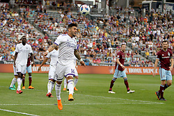 April 29, 2018 - Commerce City, Colorado - Orlando City SC forward Dom Dwyer (14) sends a header out of bounds in the second half of action in the MLS soccer game between Orlando City SC and the Colorado Rapids at Dick's Sporting Goods Park in Commerce City, Colorado (Credit Image: © Carl Auer via ZUMA Wire)