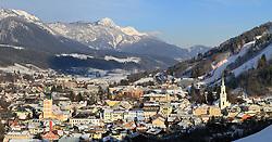 15.01.2013, Schladming, AUT, FIS Weltmeisterschaften Ski Alpin, Schladming 2013, Vorberichte, im Bild Schladming mit seinen beiden Kirchen und der Planai-Zielhang am 15.01.2013 // Schladming with its two churches and the Planai on 2013/01/15, preview to the FIS Alpine World Ski Championships 2013 at Schladming, Austria on 2013/01/15. EXPA Pictures © 2013, PhotoCredit: EXPA/ Martin Huber