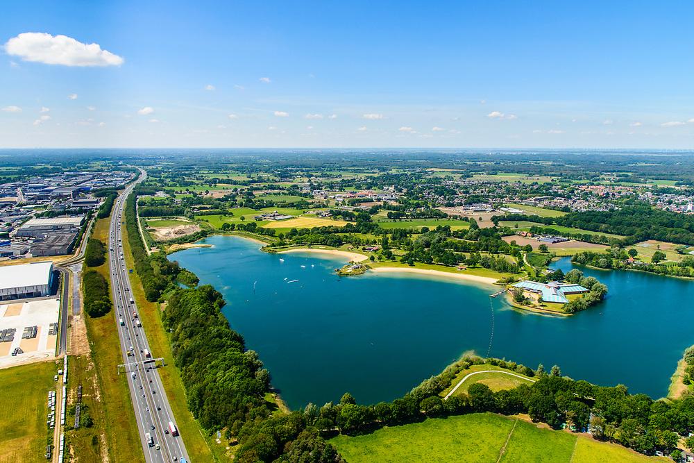 Nederland, Gelderland, Gemeente Barneveld, 29-05-2019; Recreatiegebied Zeumeren, zandwinplas het Zeumerse gat. Links autoweg A1 en bedrijventerrein Harselaar.<br /> Zeumeren recreation area, sand extraction area. On the left the A1 motorway and the Harselaar business park.<br /> luchtfoto (toeslag op standard tarieven);<br /> aerial photo (additional fee required);<br /> copyright foto/photo Siebe Swart